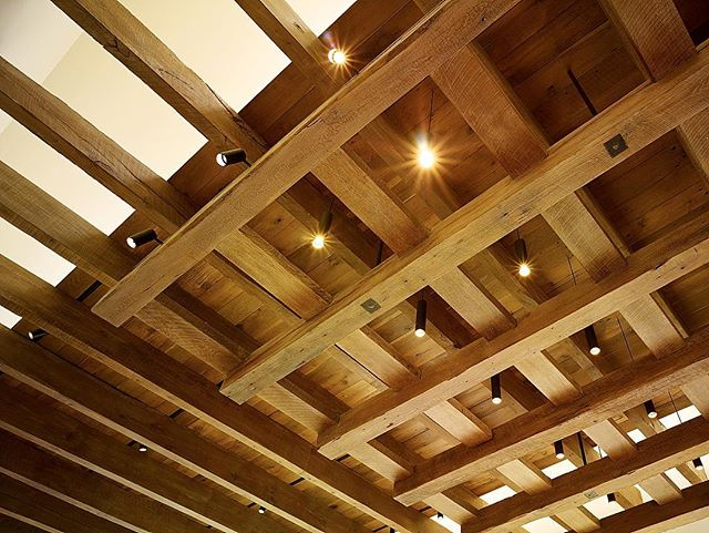So pleased with result of the layers of articulated ceiling within the main building. . . . . . #woodceiling  #reclaimedwood  #whiteoak  #tracklighting  #pendantlights  #interiorarchitecture  #luxuryhomes  #modernarchitecture  #suttonsuzukiarchitects