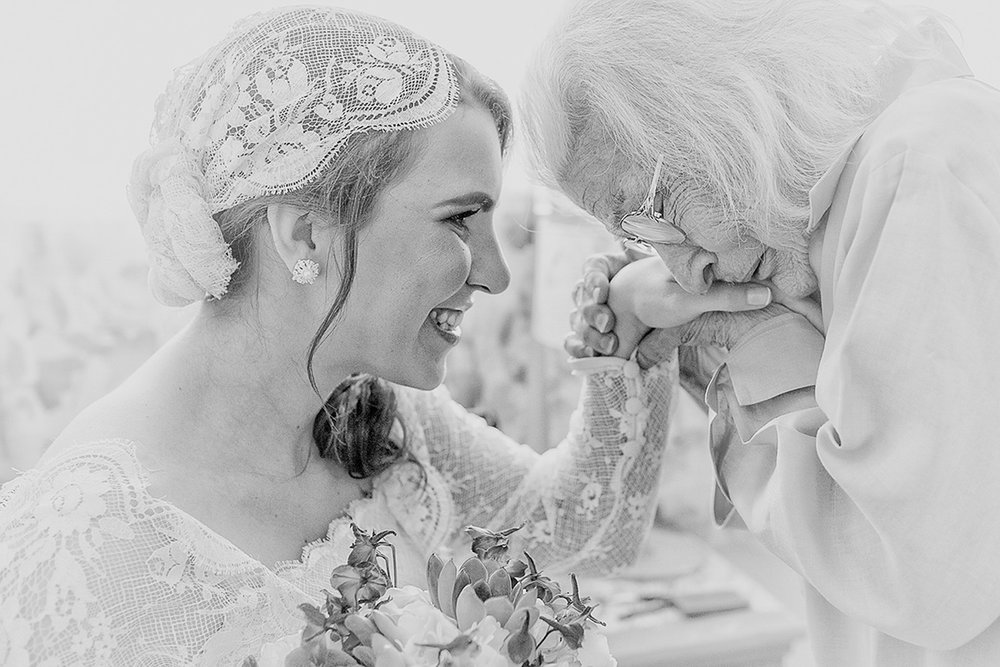 Bride shares a tender moment with her Grandmother minutes before walking down the aisle.
