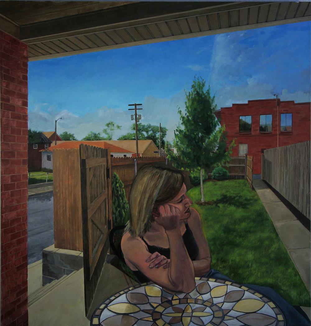 Back Yard, oil on canvas, 56x50