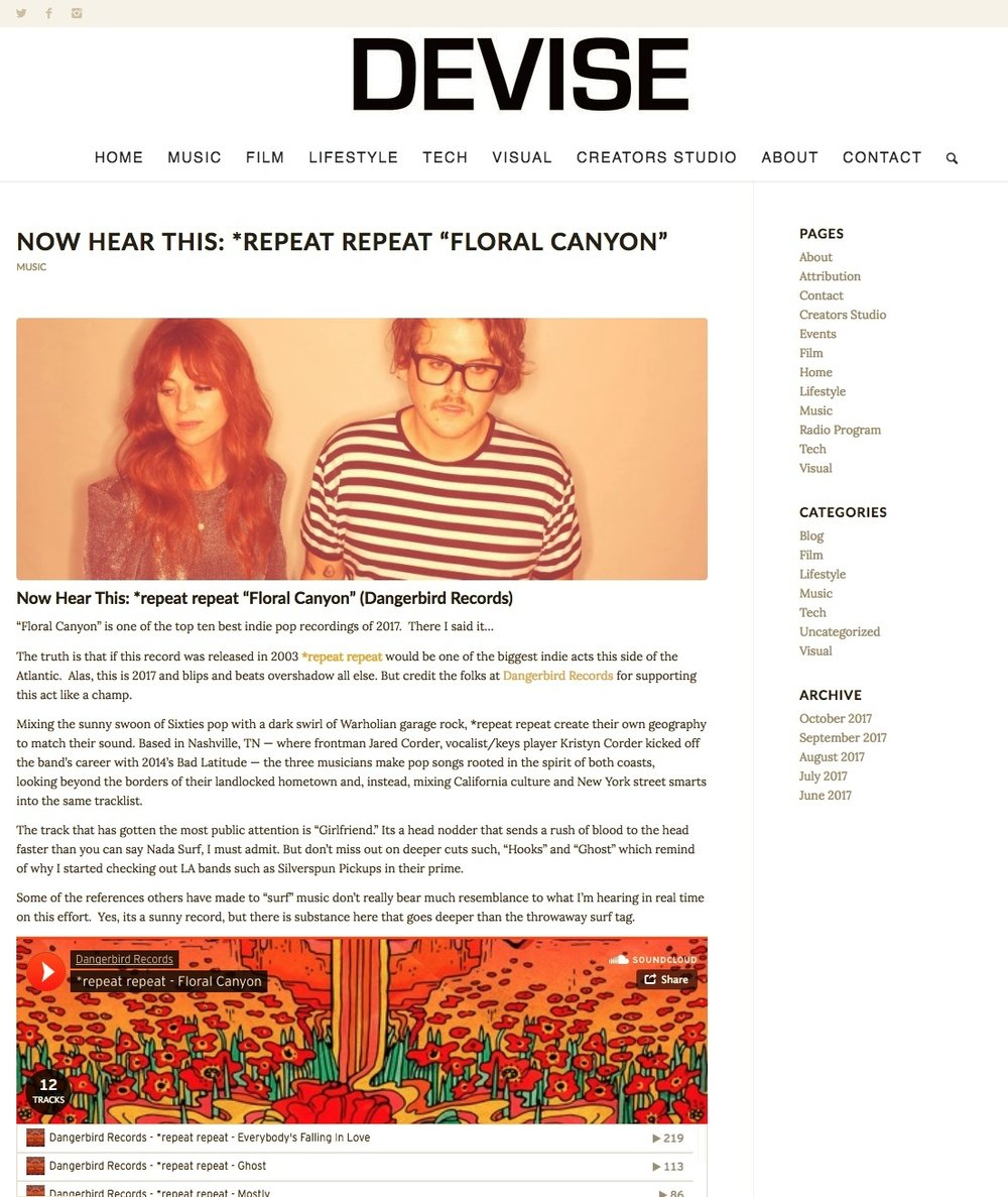Devise Magazine- Now Hear This *repeat repeat  Floral Canyon Top 10 IndiePop Albums of 2017   DEVISE.jpg