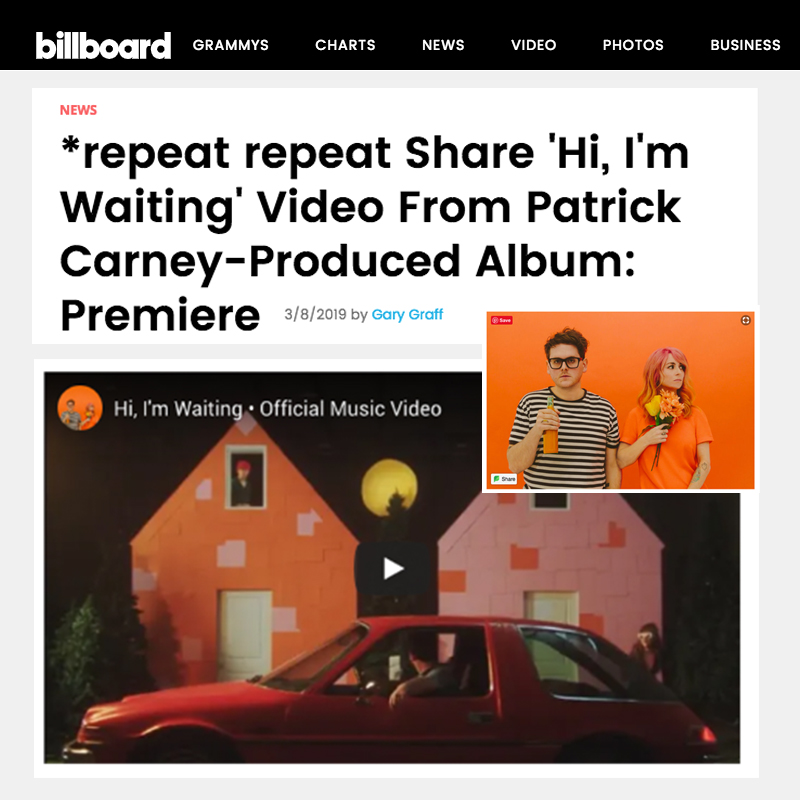 "Billboard premieres ""Hi, I'm Waiting"" Music Video"