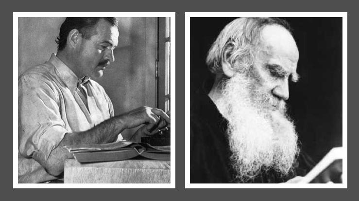 Ernest Hemingway and Leo Tolstoy
