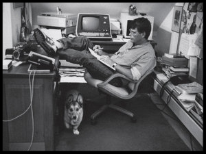 Author Stephen King working on his craft.