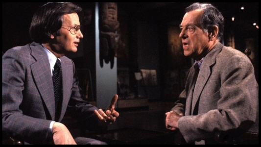 Bill Moyers (left) discusses mythology with Joseph Campbell.