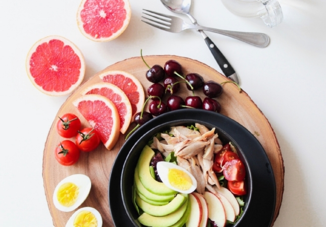 Try to have real fruits along with healthy fats for breakfast. Your breakfast doesn't have to look like this picture, a simple egg with avocado and cherries on the side is good enough.