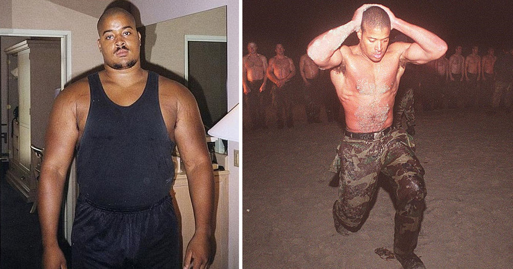 David Goggins (left) before Navy SEAL training and Goggins during Hell Week in BUD/S.