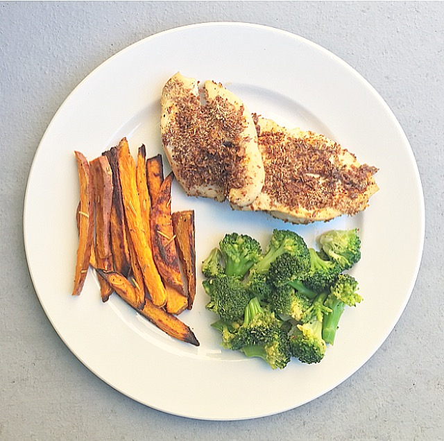Spicy Flax Chicken, Rosemary Yam Fries & Pan-Fried Broccoli