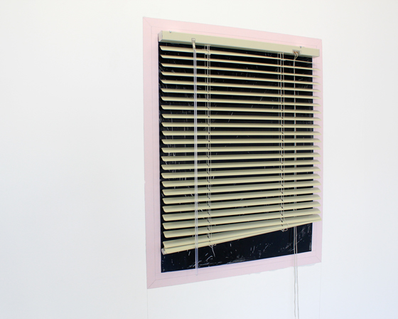 Kael Stasce,  What you see , 2017, venetian blind, perspex sheet, synthetic polymer paint, graphite on wall.