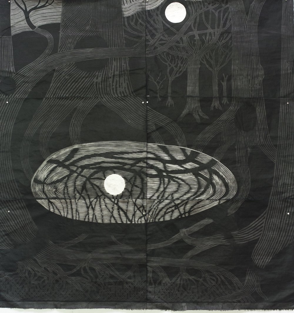 Bayard Condon,  NWSE I , 2016, woodcut and sumi ink on kozo paper, 180 x 185cm