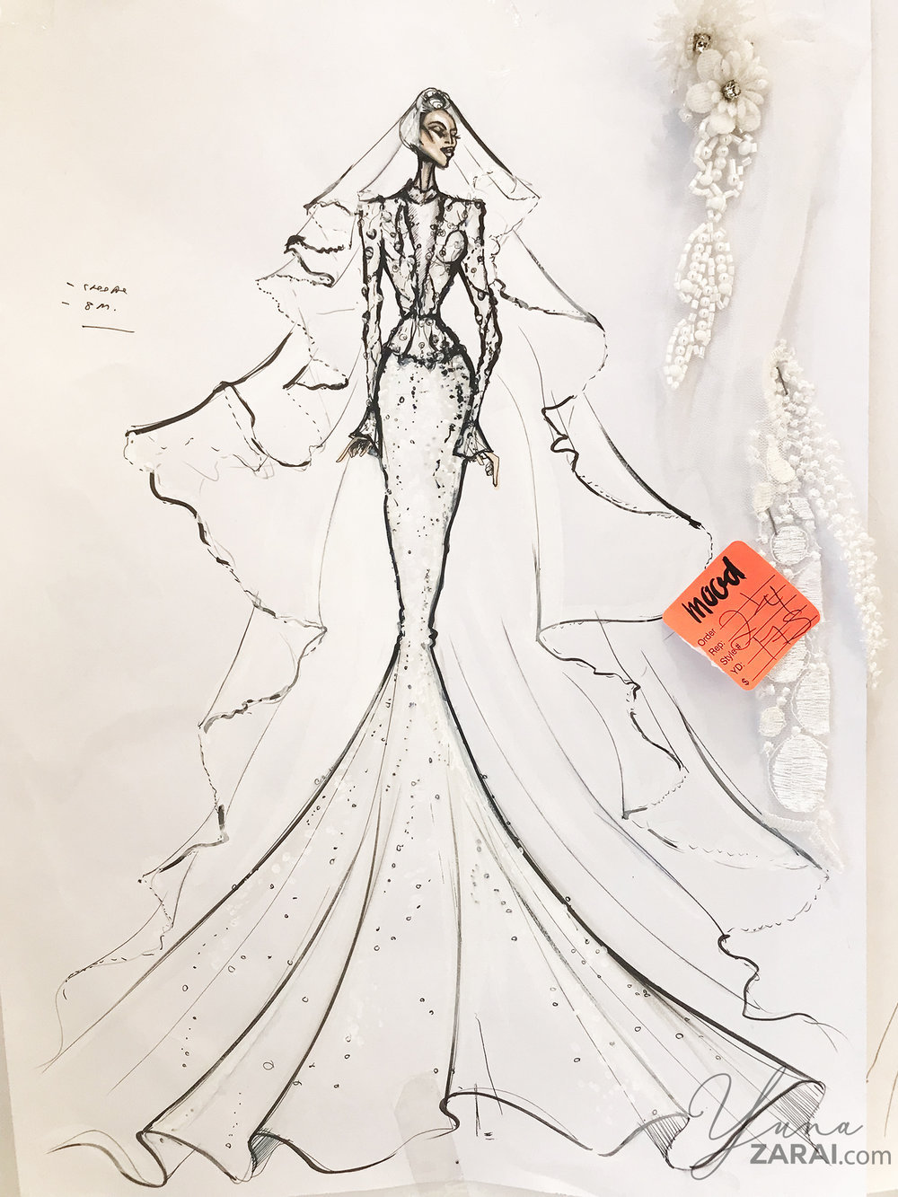 Hatta's sketch of the Akad dress.