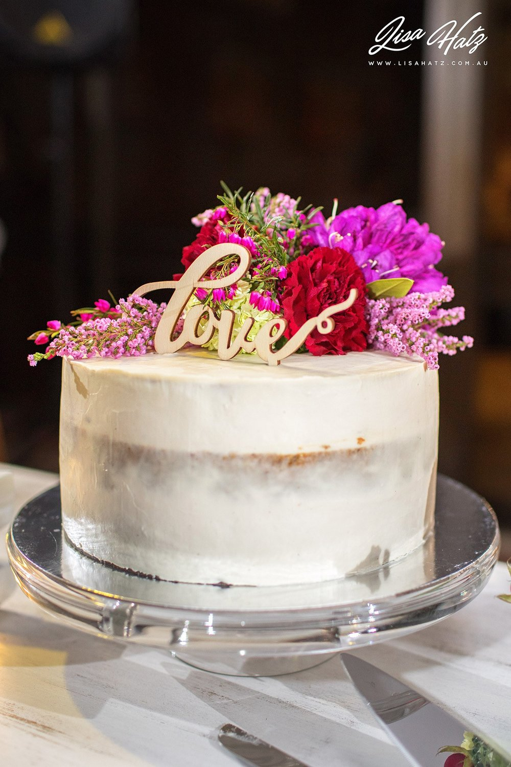 A non traditional wedding cake in every sense, layered carrot and walnut cake