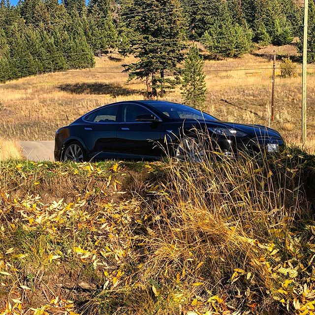 Beautiful day for a fall cruise in a #Tesla! Thanks to our renters for this cool shot, near #KamloopsBC. Don't you love fall? 🍁 . . .  #ExploreBC #ExploreKamloops #TeslaRental #RentaTesla #ExploreVernon #ExploreKelowna #ExploreBC #sustainabletourism  @thompson_okanagan #Route97