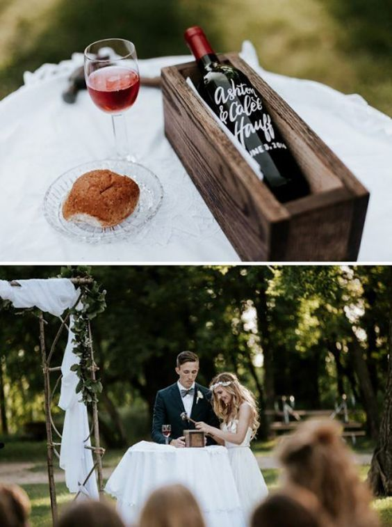 Note the vows tucked in on the left side of the bottle. Not sure about the bread roll?