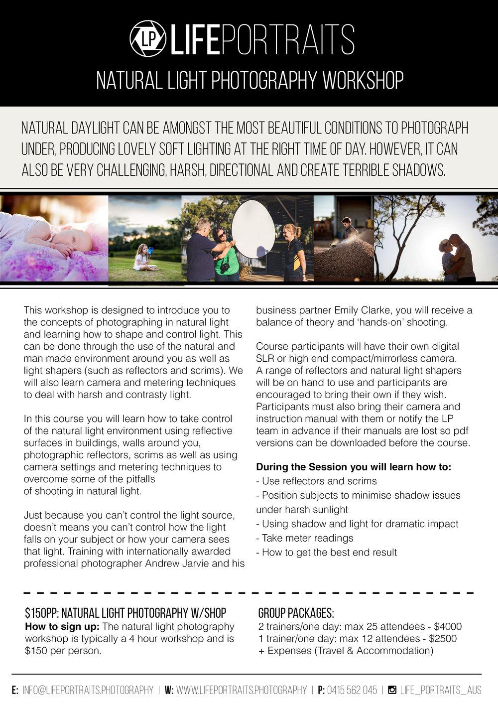 Life Portraits: Brisbane Natural Light Photography Workshop