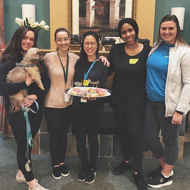 Yesterday I said goodbye for now to Northridge Long Term Care. It's been a privilege to work alongside an amazing team of recreation therapists!⠀ ··⠀ These ladies are innovative in creating non pharmacological interventions and incredibly open to collaboration in order to bring the best possible care to their residents💜 ⠀ ··⠀ Thank you for the lovely send off! You donut 🍩 know how much you all mean to me 😌 @oddsntrends @kaileebagnato @j.soeting .⠀ .⠀ .⠀ #musictherapy #recreationtherapy #longtermcare #oakville