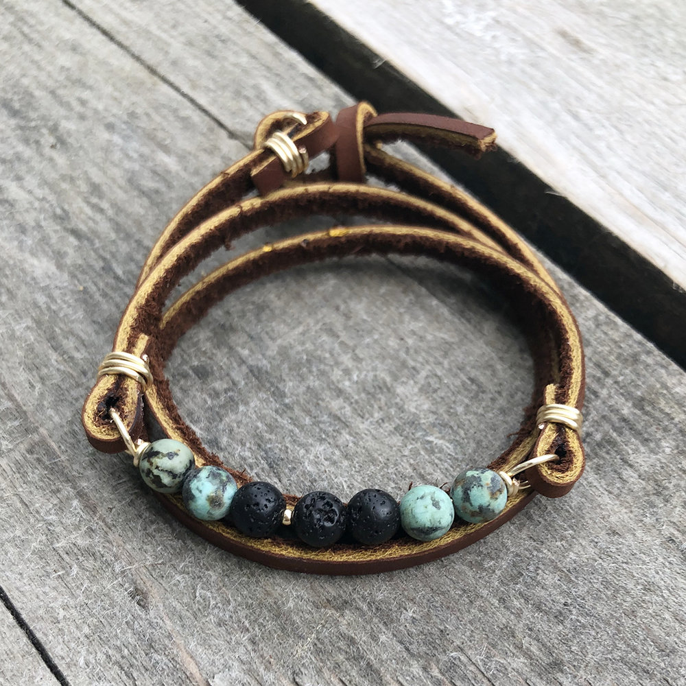 - Tan LeatherAfrican Turquoise + LavaGold Detail