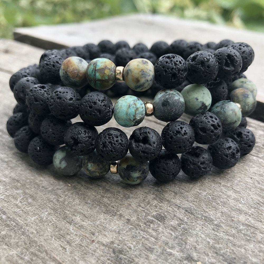 - Turquoise + Black Lava14k Gold Fill Accent