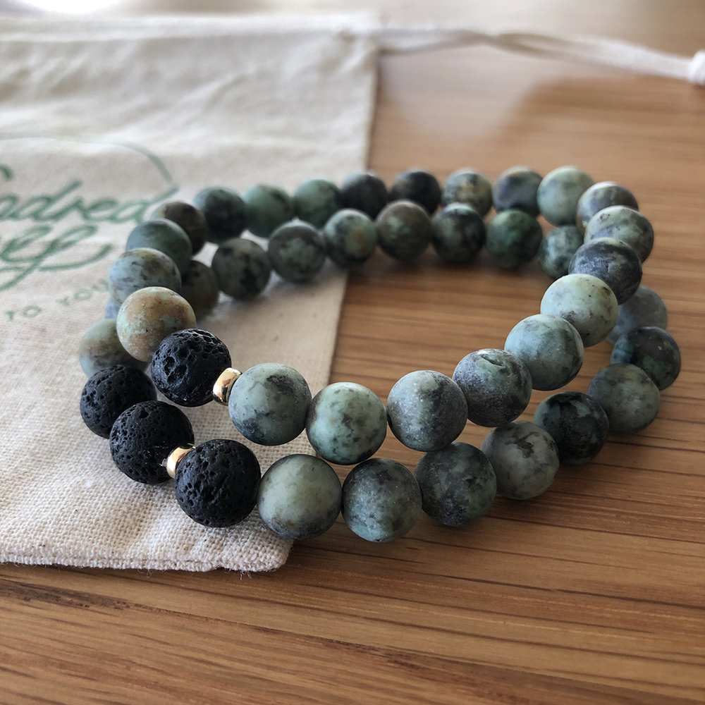 - African Turquoise + Black Lava14k Gold Fill Accent