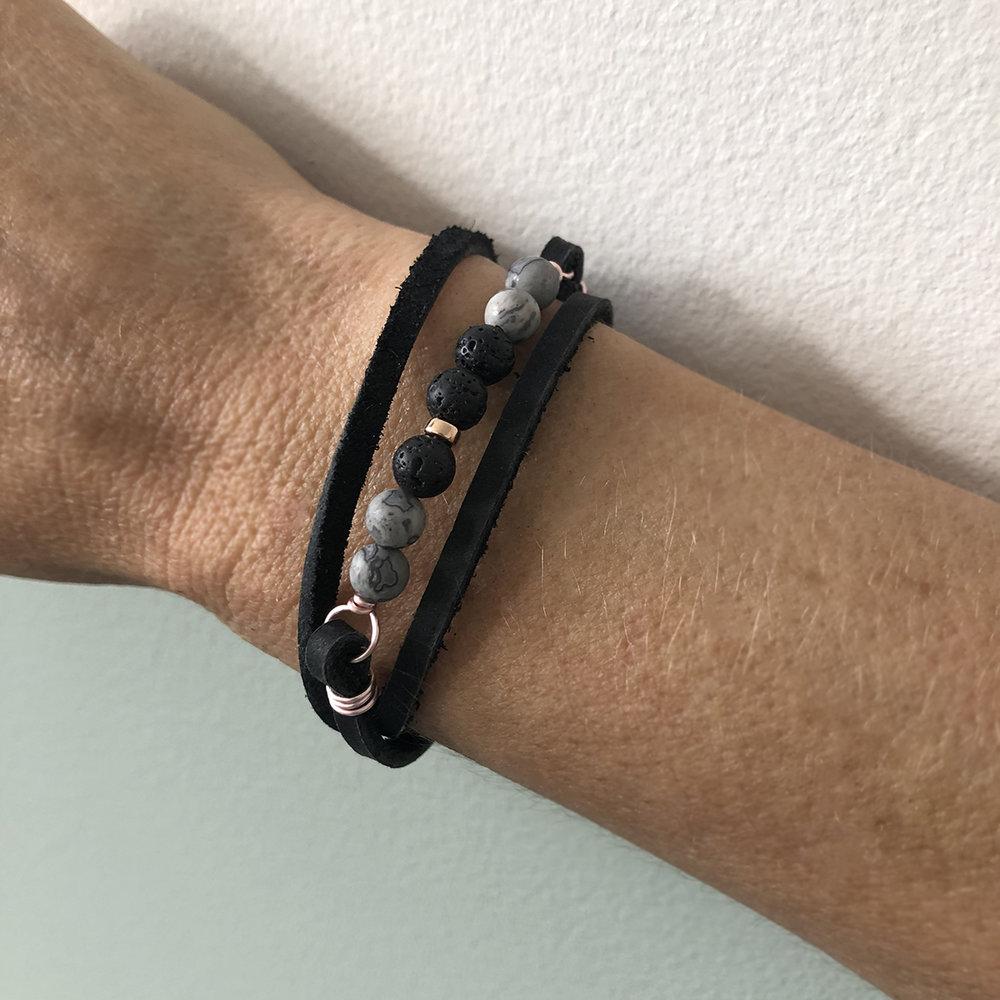 - Black LeatherGrey Jasper + LavaRose Gold Detail