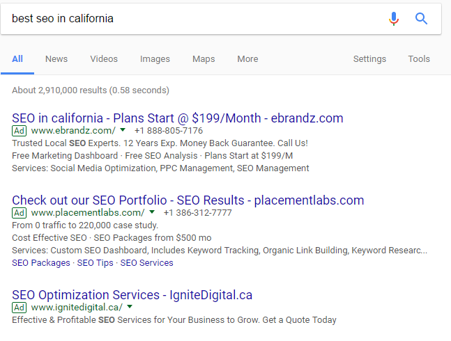 An example of a profitable keyword.
