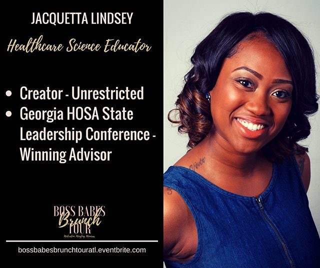 #wcw Jacquetta Lindsey is one of our spectacular panelists for the Boss Babes Brunch Tour in Atlanta, Georgia this weekend. This Health Science Educator is setting herself up for success by conquering the corporate world while starting her organization, Unrestricted. She is the perfect resource for someone who is looking to balance their full-time career along with their passion project. Learn more this Saturday. Tickets are available at https://bossbabesbrunchtouratl.eventbrite.com #bossbabesbrunchtour #bossbabesbrunch #bossbabes #bossup #bossupthebook #girlboss #femaleentrepreneur #entrepreneurship #buildyourbusiness #empowerment #empoweringwomen #motivation #mingling #mimosas #atlanta #atlantanetworking #atl #404 #atlantabossbabes