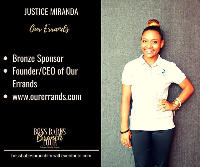 I am so excited to have @ourerrands as a Bronze Sponsor for the Boss Babes Brunch Tour in Atlanta this weekend. Our Errands was founded by Justice Miranda. The California native is a graduate of Clark-Atlanta University. She created our errands with her cousin to help small businesses thrive. This Boss Babe will be leading our icebreaker activity and will share more info on how she can help your day to day operations. Learn more tomorrow. Tickets are available at https://bossbabesbrunchtouratl.eventbrite.com #bossbabesbrunchtour #bossbabesbrunch #atlanta #beanding #marketing #bossup #ourerrands #bossbabe #clarkatlanta #businesswoman #goaldigger #girlboss #ladyboss #blackgirlboss #femaleentrepreneur #entrepreneurship #buildyourbusiness #empowerment #empoweringwomen