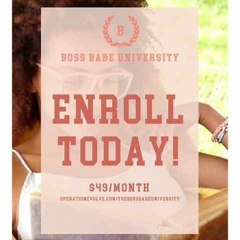 Hey Boss Babe! Are you looking for on-demand courses in Marketing, Branding, PR, Public Speaking, Networking, Event Planning, and more for your Start Up? Join The Boss Babe University today for $49. You will receive unlimited access to courses, private Facebook community, and group coaching calls. Sign up now at operationevolve.com/thebossbabeuniversity #bossbabe #bossbabeuniversity #bossbabes #branding #marketing #publicrelations #goals #branding #business #womeninbusiness #goaldigger #bossup #buildyourbrand #purpose #profits #classisinsession