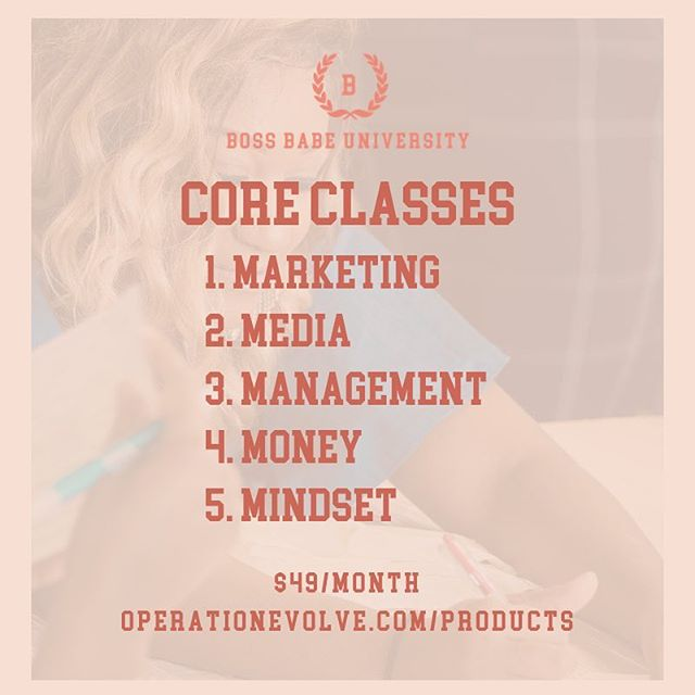 What does Boss Babe University offer? We are a  digital learning platform for entrepreneurs, creatives, and leaders who are looking to level up their skills so their personal and professional brands shine. This is perfect for those in the beginning phases of developing their brand.  After a year of working with entrepreneurs, I have found the top 5 areas that I get asked the most questions about are in the areas of  1. Marketing 2. Media 3. Management 4. Money 5. Mindset The Boss Babe University will open its doors tomorrow and provide your with four classes. One will he added weekly and you will also have access to our private Facebook group. Enrollment is only $49/month. Sign up today at https://operationevolve.com/products #bossbabeuniversity #thebossbabeuniversity #bossbabe #bossbabes #branding #marketing #media #mindset #management #money #bossup #professionaldevelopment #professionalism #entrepreneur #creative #leader #femaleentrepreneur #womenimbusiness #business #businessbabe #operationevolve #educate #empower #evolve #buildyourbusiness #bossbabesbrunchtour
