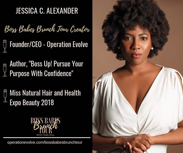 """Meet Jessica @jessicacalexander ! She is the Founder and CEO of Operation Evolve @operationevolve She is the creator and organizer of Boss Babes Brunch Tour. In 2016, she was ready to go all in for her purpose to teach girls and women to walk in their purpose, create a plan, and develop strategies to grow their personal and professional brand.  Since that first event, she has written her first book, """"Boss Up! Pursue Your Purpose With Confidence"""", won the Miss Natural Hair and Health Expo Beauty Pageant, and traveled to over 25 cities across the country to empower over 500 women entrepreneurs, creatives, and leaders.  As she is building her brand, the biggest message she wants to share with anyone who desires to walk fully in their purpose, """"You don't have to know every step, you just have to take one."""" There are 16 more stops on the 2019 tour. Next stop is Dallas, Texas. We would love for you to join us!  Tickets are available at bossbabesbrunchtourdallas.eventbrite.com  #Bossbabesbrunchtour2019 #bossbabesbrunchtour #bossbabesbrunch #bossbabes #networkingbrunch #womensbrunch #womeninbusiness #brandyourbusiness #growyourbrand #levelup #bossupbabe  #womeninbusinessrock #femaleentrepreneurs #travelbabe #millennialnomad #travelnoir #millennialboss #millennialentrepreneur #entreprenuers  #browngirlbloggers #dallasevents #dallasyoungprofessionals #dallasbossbabes #dallastexas #brandingagency #jessicacalexander #operationevolve"""