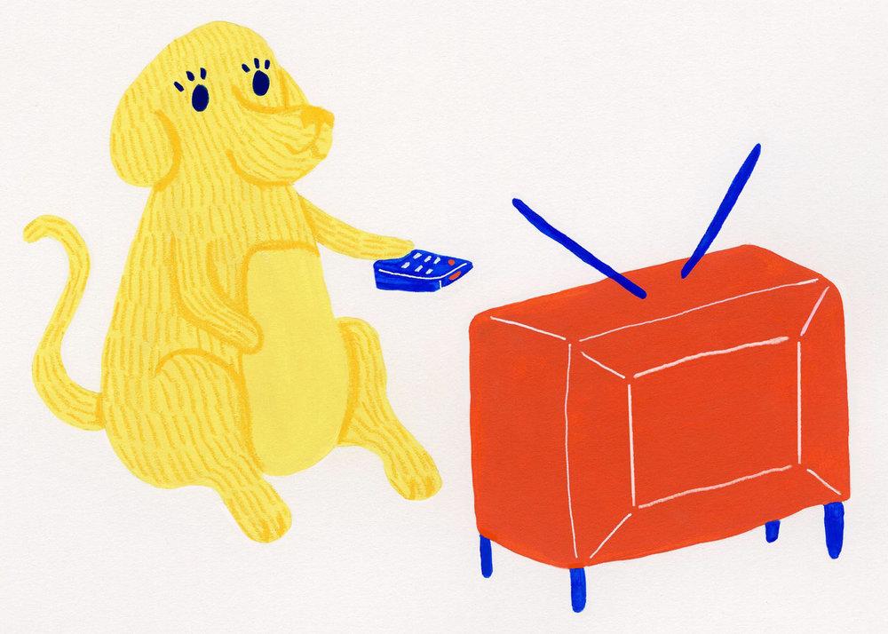 Dog Cards- TV Yellow Dog Sitting 5x7.jpg