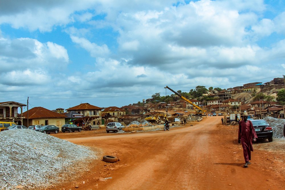 road construction has taken over the main market