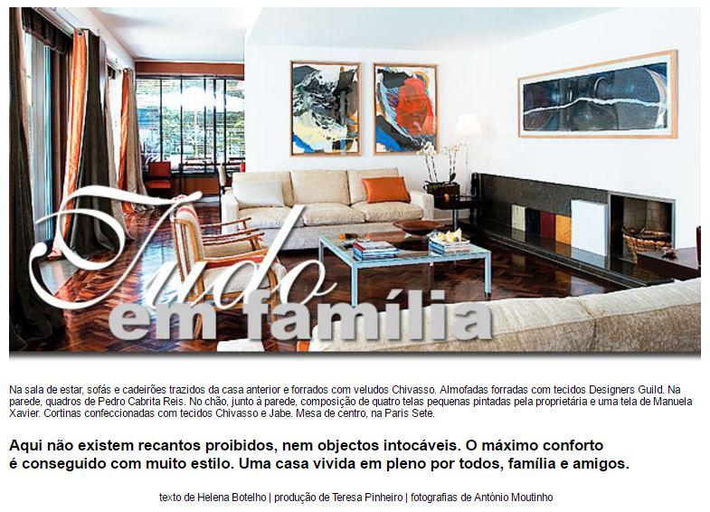 """MÁXIMA INTERIORES MAGAZINE    """"Tudo em família"""" (2010)"""