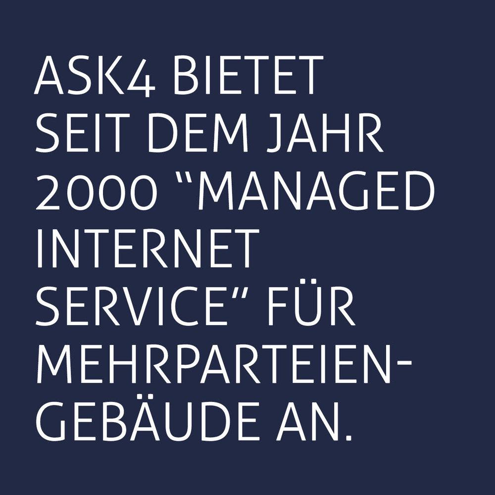 """ASK4 bietet seit dem Jahr 2000 """"managed internet service"""" für Mehrparteiengebäude an."""