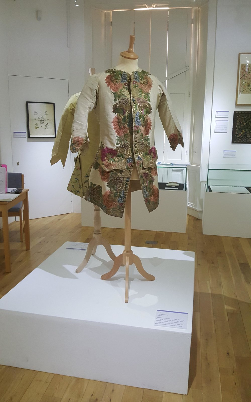 Beautiful embroidered 18th century gentleman's coat from the Wemyss Needlework School collection.