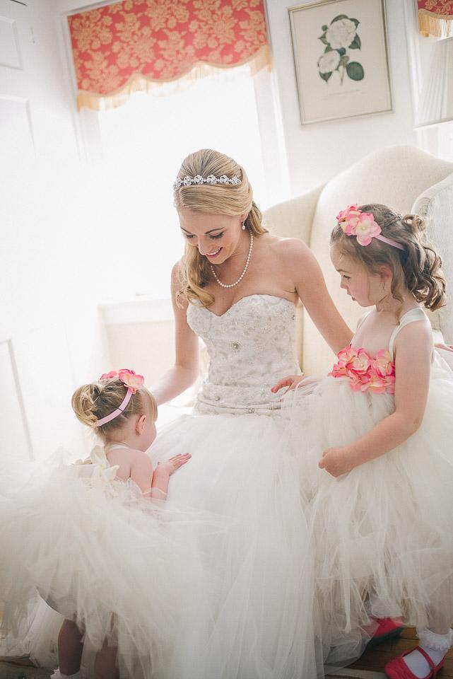 NH Wedding Photographer: bride with flower girls