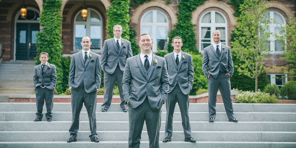 NH Wedding Photographer: groom and groomsmen at Saint Anselm