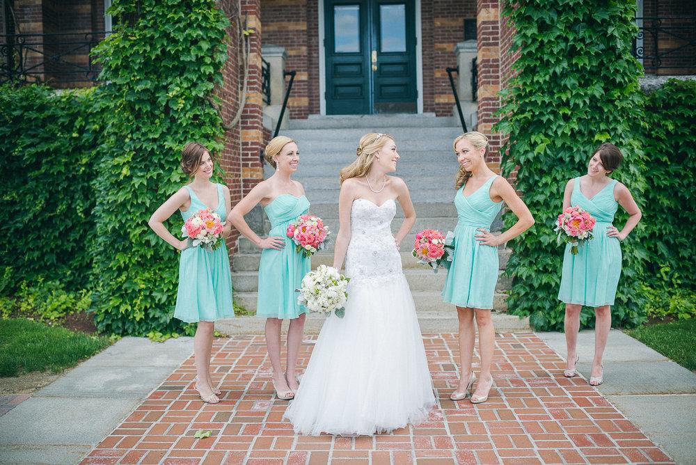 NH Wedding Photographer: bride with bridesmaids
