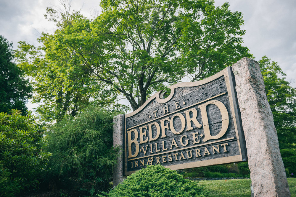 NH Wedding Photographer: Bedford Village Inn sign