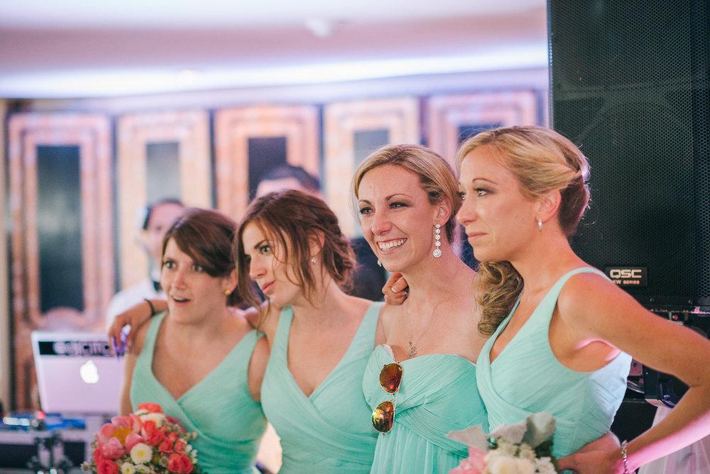 NH Wedding Photographer: bridesmaids watching first dance