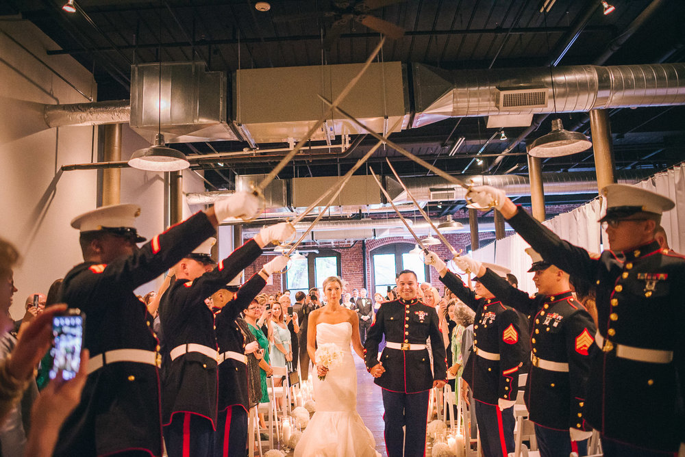 NH Wedding Photographer: bride and groom recessional with marines
