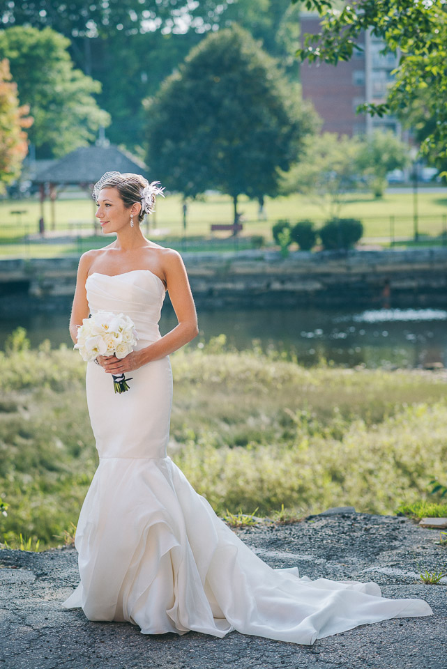 NH Wedding Photographer: bride outside Rivermill