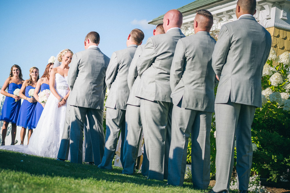 NH Wedding Photographer: wide angle of bridal party at ceremony