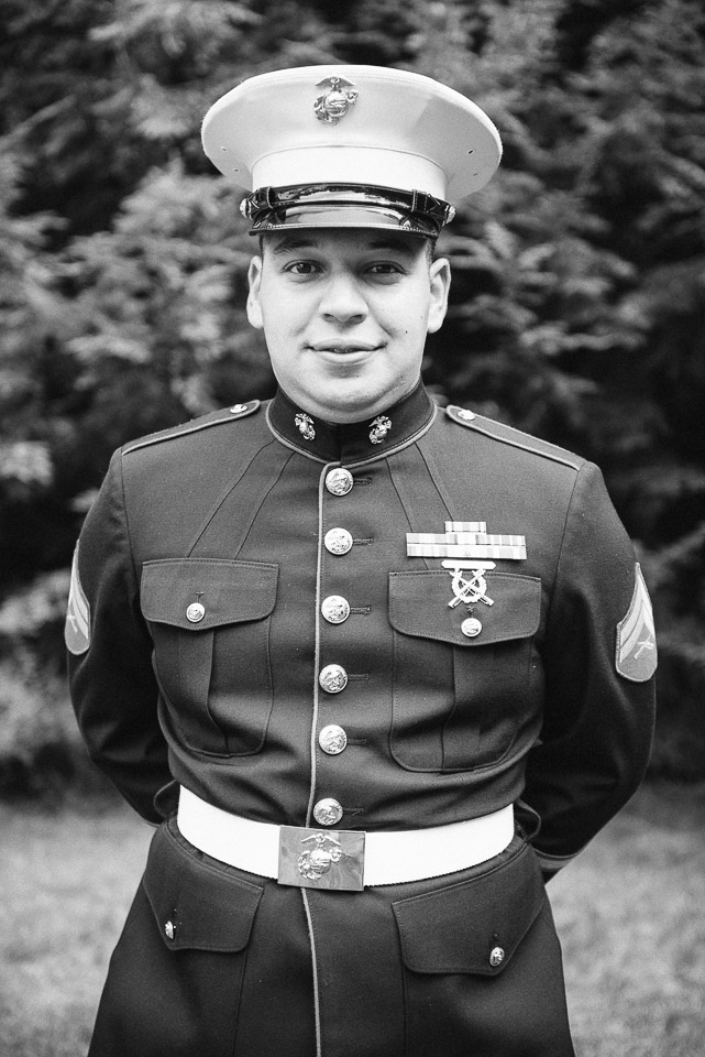 NH Wedding Photography: Groom military pose