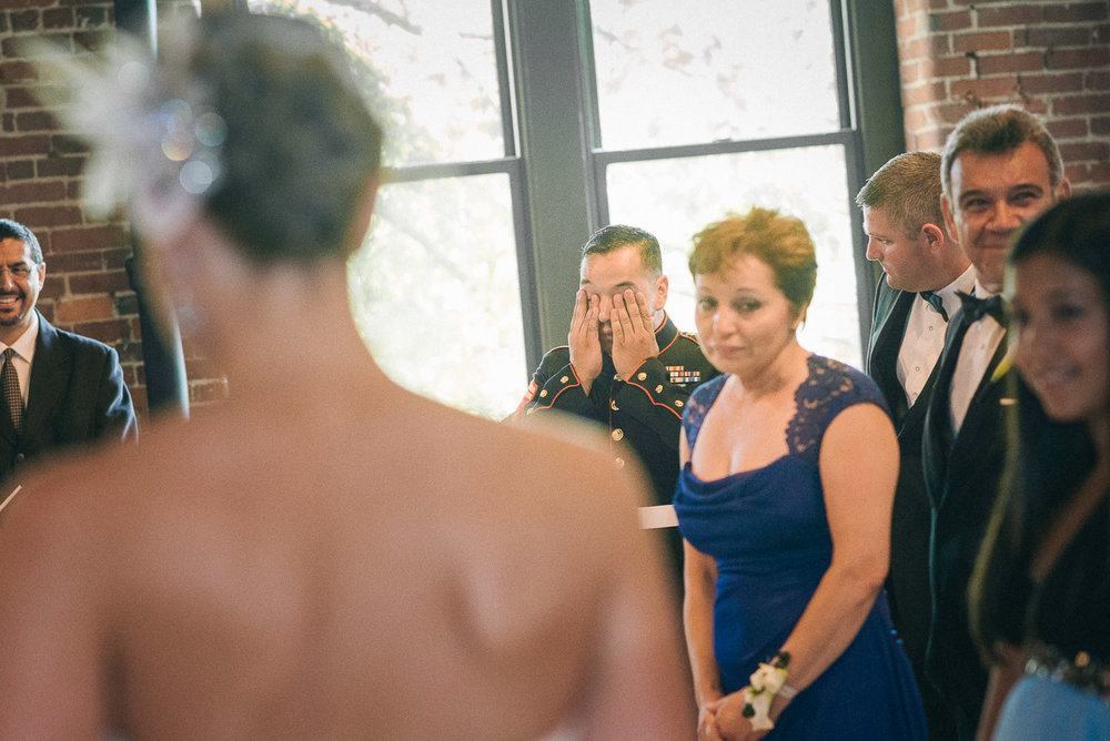 NH Wedding Photography: mother watching bride