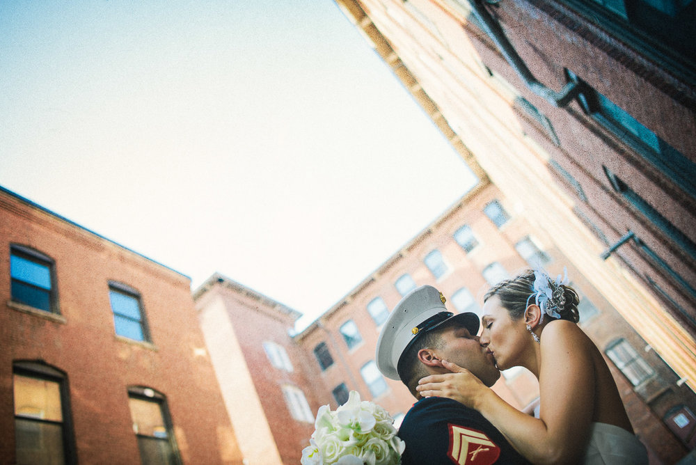 NH Wedding Photography: bride and groom outside Rivermill