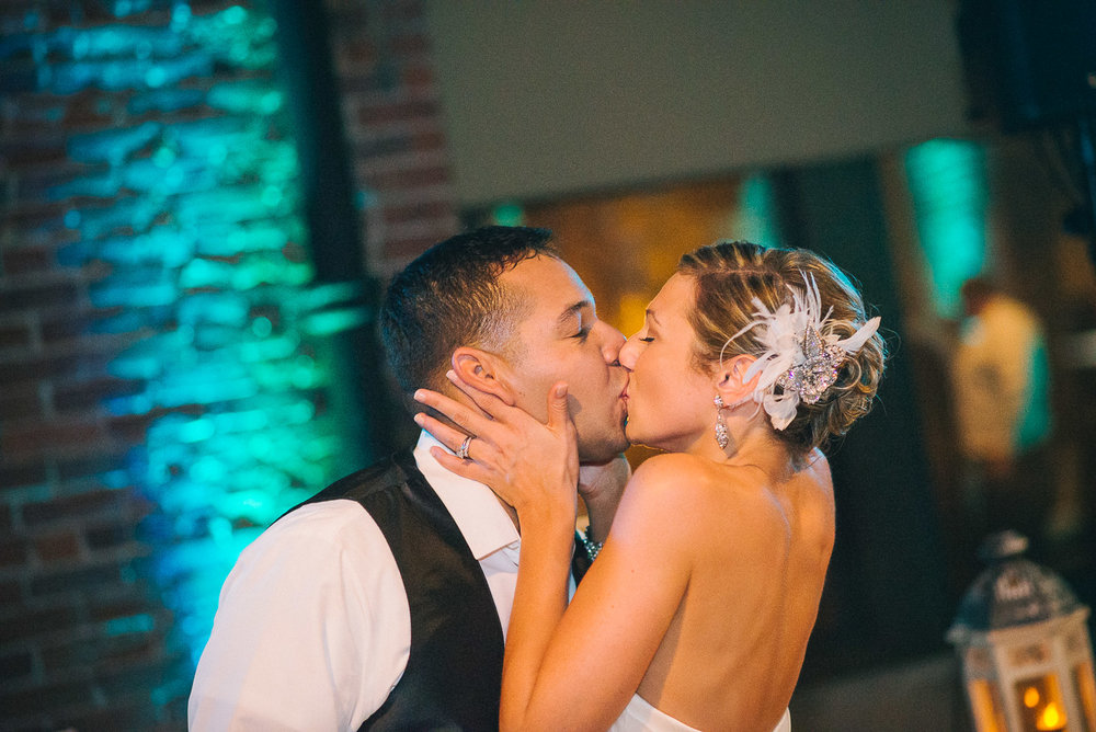 NH Wedding Photography: couple cake kiss