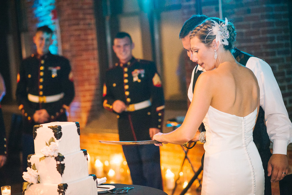 NH Wedding Photography: cake cutting