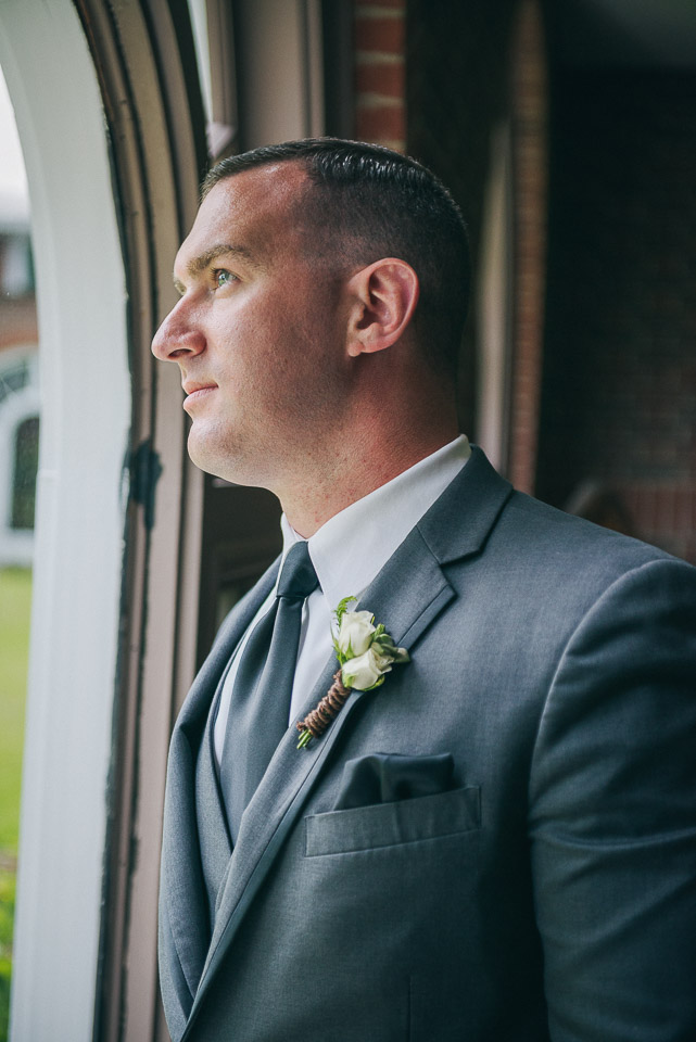 NH Wedding Photography: portrait of groom at Saint Anselm