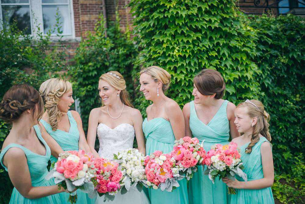 NH Wedding Photography: bride with bridesmaids at Saint Anselm