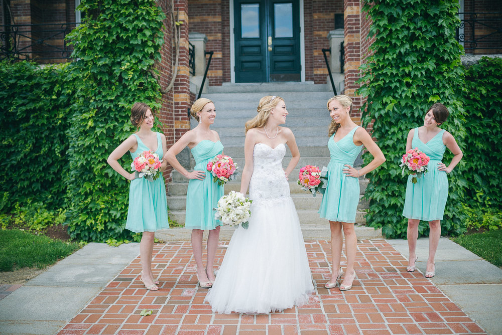 NH Wedding Photography: bride with bridesmaids